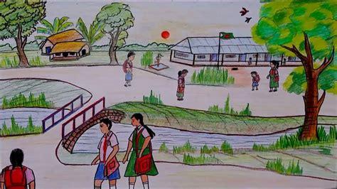 draw village school scenery drawing tutorial