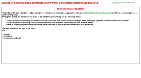 Work Experience Letter To Contractor Architect Senior Construction Administrator Work Experience Certificates