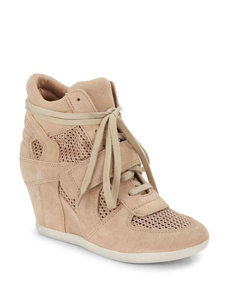 beige wedge sneakers ash bowie mesh suede wedge sneakers in beige chamois