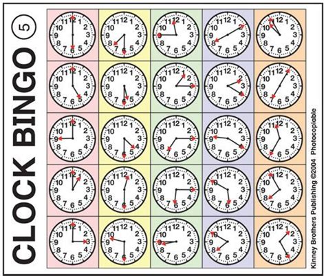 printable clock bingo 36 best english learning numbers time images on
