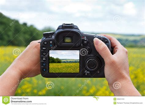 take photo using a dslr to take a photo stock image image of