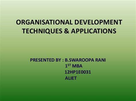 Mba Organizational Development by Organisational Development Techniques Applications