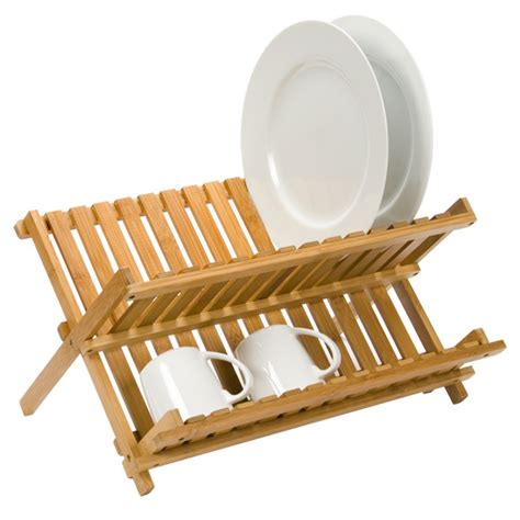 geschirrtrockner gestell folding bamboo dish rack the container store