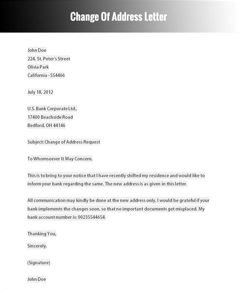 Business Letter Change Of Address Template official letter format for change of address letter