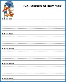 5 Senses Writing Template by 6 Best Images Of Printable Templates For 2nd Grade Opinion