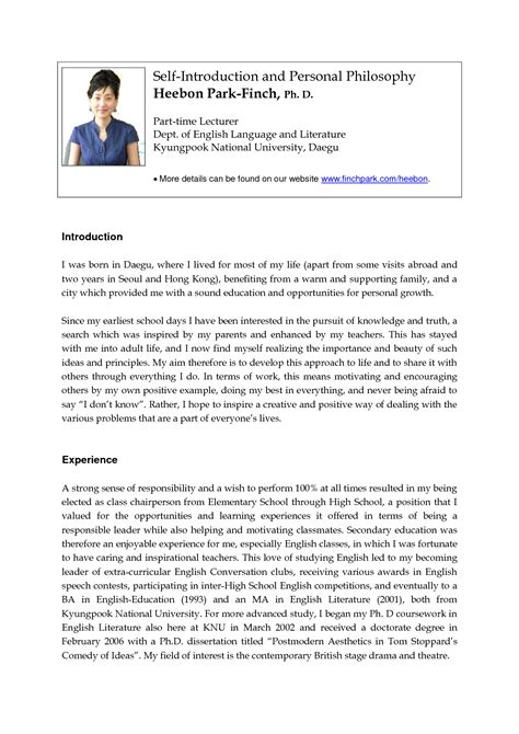 Introduction Letter For A Cv Self Introduction Letter And Personal Philosophy Exle For Resume Resume Introduction