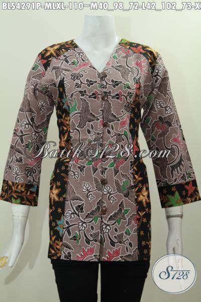 Blus Batik B21117019 M L Xl Blus Kerja Batik Atasan Cewek Batik Murah batik blus elegan kombinasi dua warna baju batik kerja wanita karir model terbaru yang banyak