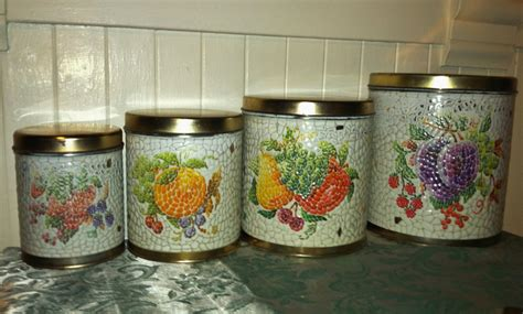 vintage kitchen canister sets vintage kitchen canister set of mosaic tile fruits shabby