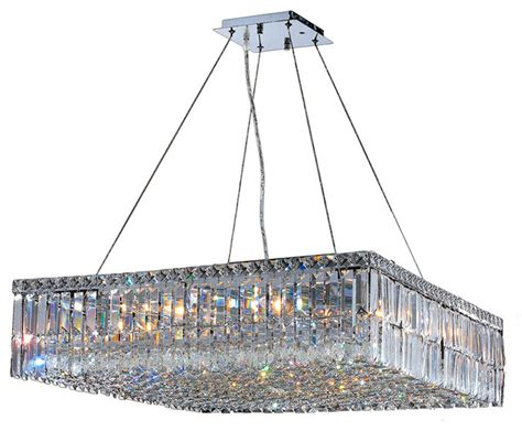 Large Square Chandelier Cascade 12 Light Chrome Finish And Clear 28