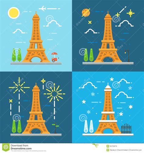 design art eiffel tower 7th flat flat design 4 styles 0f eiffel tower paris france stock