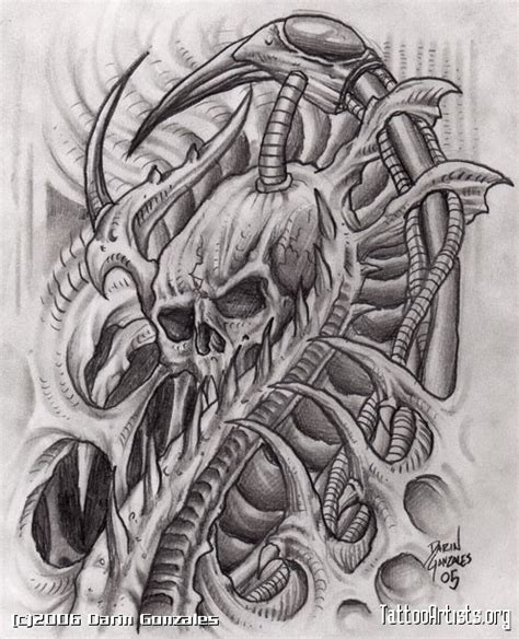biomechanical skull tattoo design biomechanical doom artists org