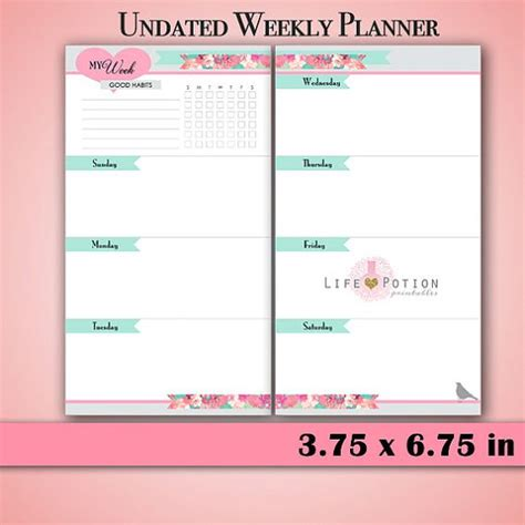 printable undated planner pages weekly planner weekly planner printable and planners on