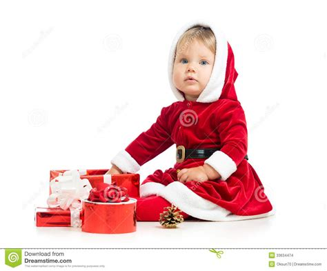 christmas baby girl with gift box stock images image