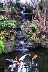 creating fish pond and watelfalls in garden house luxury