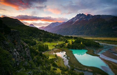 river sunrise chile mountain patagonia turquoise