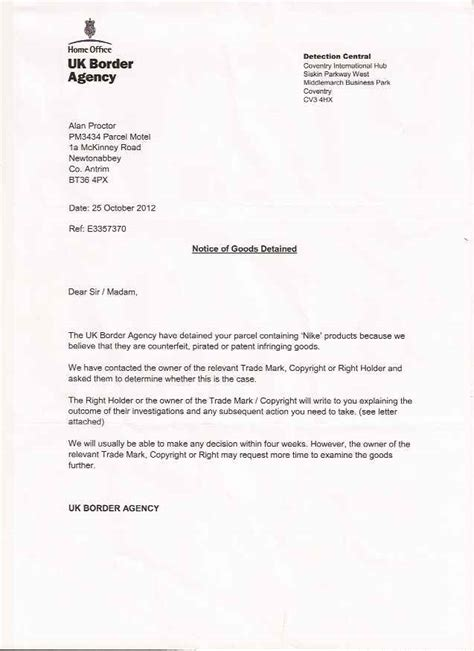 Acknowledgement Letter From Uk Border Agency Jersey Stores Boards Ie