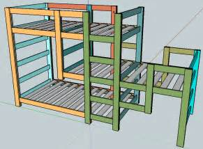 Blueprints For Triple Bunk Beds by Ana White Triple Bunk Staggered Beds Diy Projects