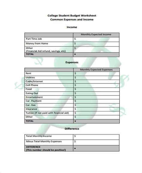 college student budget student budget templates 9 free pdf format