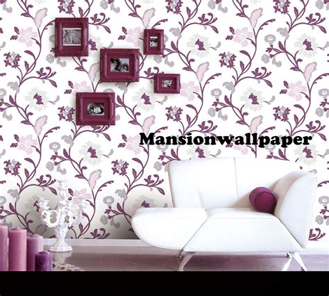 Wallpaper Dinding Bunga Ungu 1 jual wallpaper dinding bunga modern ungu mansion
