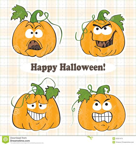Lustige Sticker Videos by Funny Halloween Pumpkins Stickers Stock Images Image