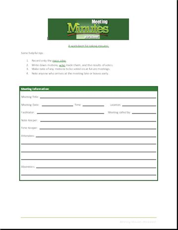 meeting minutes worksheet business templates executive