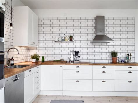 white tiles black grout kind  kitchen scandinavian