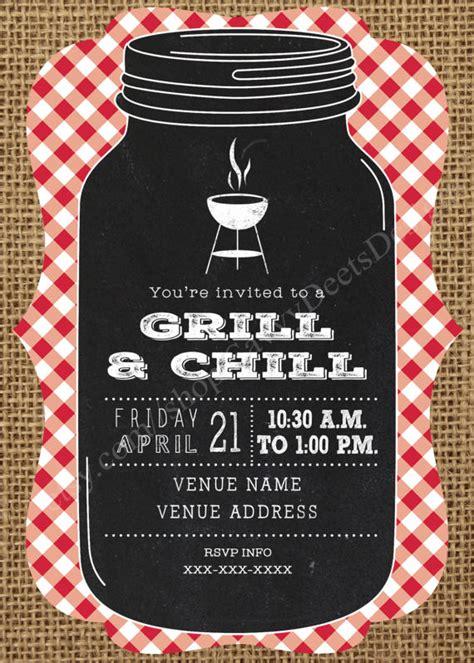printable grill invitation grill chill invitation printable grill and chill