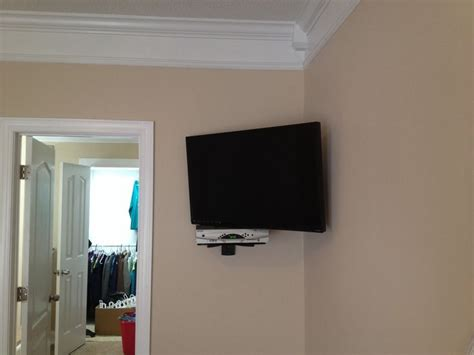 corner tv wall mount 37 quot motion corner wall mount with floating shelf for cable box home theater