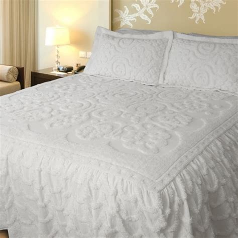 Lara White Queen Size Bedspread By Lamont Limited Size Bed Spread