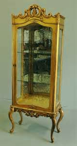 Curio Cabinets Gold 159 Gold Leaf Curio Cabinet Lot 159
