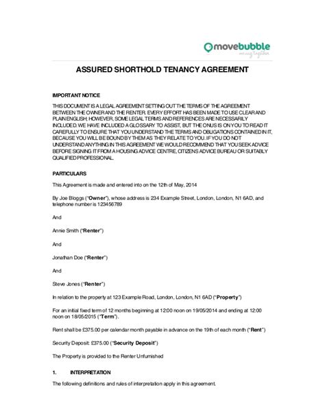 assured shorthold tenancy agreement template word doc assured tenancy template tenancy agreement template