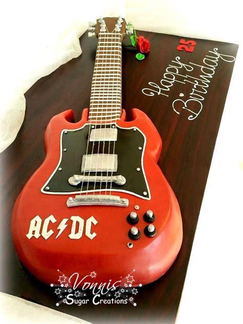 kuchen für 1 geburtstag ac dc guitar cake fondant birthday rock torte kuchen