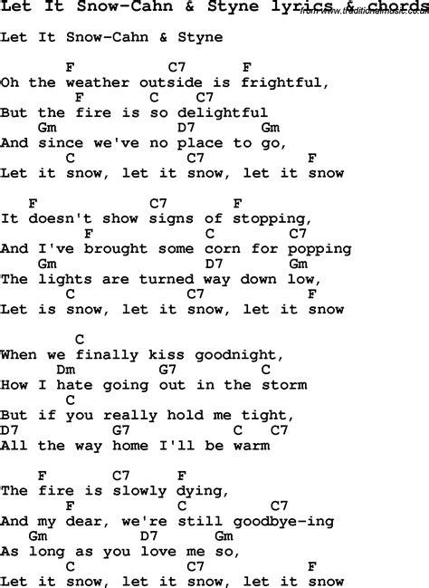 printable lyrics let it snow love song lyrics for let it snow cahn styne with chords