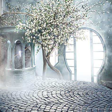 Sunshine Through Arch Door Indoor Fantasy Wedding Photo Background White Flower Trees Staircase