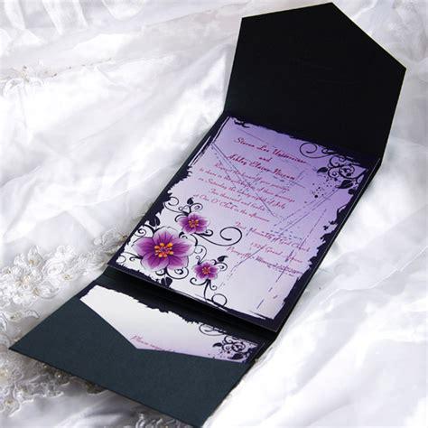 purple wedding invitations purple floral pocket wedding invitation ewpi006