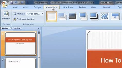 How To Add Music On Every Slide In Powerpoint 2007 Youtube How To Add Template In Powerpoint