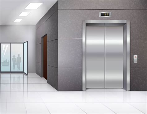 100 Floor Building Elevator - office building with shining floor and metal chrome