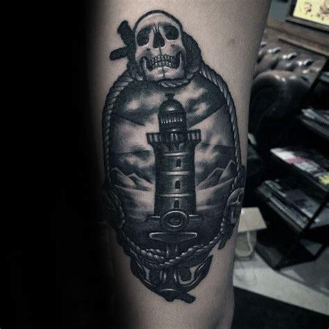 traditional lighthouse tattoo designs  men  school