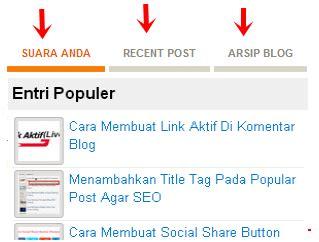 cara membuat nama blog bergerak di tab menu cara membuat widget multi tab 3 kolom di blog madamvia
