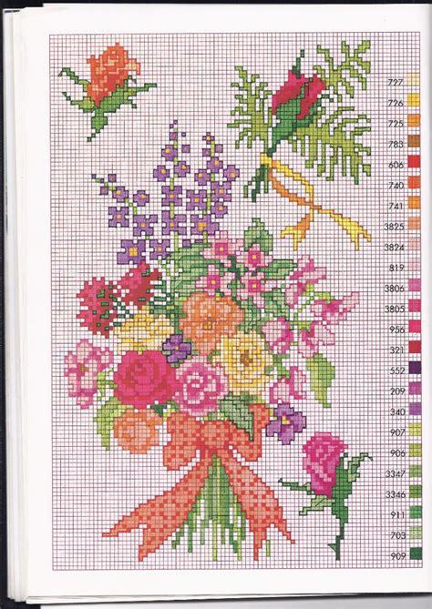 fiori punto croce schemi gratis mazzo di fiori coloratissimi schema punto croce gratis