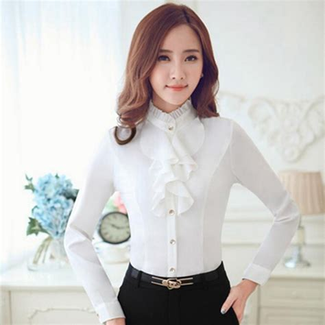 Baju Kantor Blouse White Cklass Size M korean version 2017 fall fashion business attire sleeved white shirt