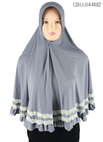 Bergo Serut Renda Bhan Jersey bergo syar i jumbo pet renda mix putih jersey jilbab pashmina murah batikunik