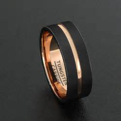 black mens wedding band mens wedding band tungsten ring two tone 8mm black brushed gold center groove flat edge