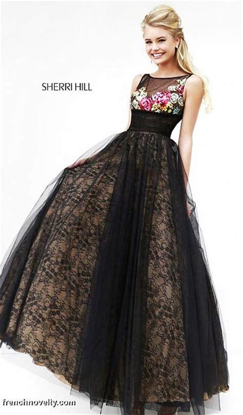 Hils Elegan sherri hill 21322 floral sheer evening dress novelty