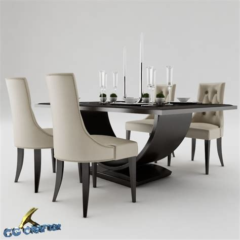 dining table set 3d model max obj 3ds fbx mtl cgtrader