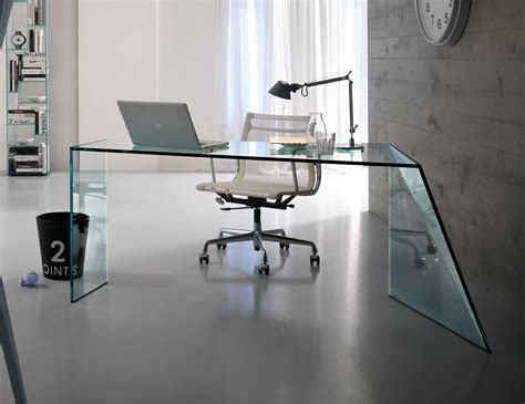 Glass Home Office Desks Nella Vetrina Tonelli Penrose Contemporary Italian Designer Glass Desk