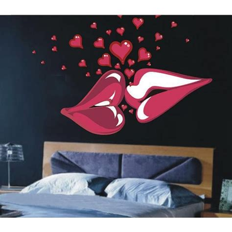 most romantic bedroom kisses 1 set retail 140x100cm big kiss lips vinyl wall decal
