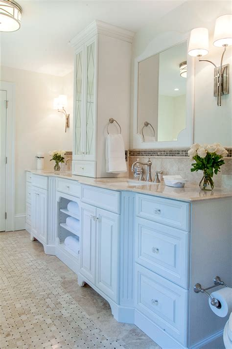 bathroom vanities with storage towers vanity tower fabulous what a gorgeous white bathroom his