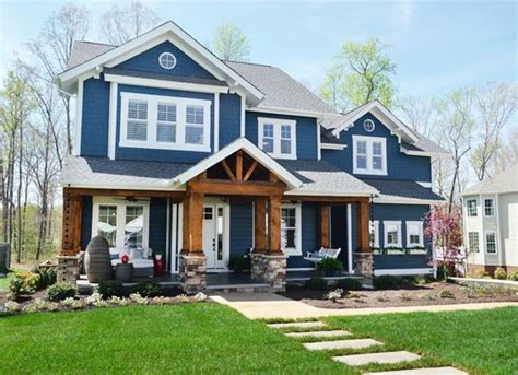 blue craftsman house let s take it outside exterior colors craftsman and