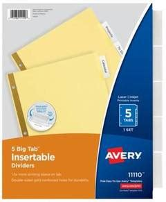 Avery 174 Worksaver Big Tab Reinforced Dividers With Clear Tabs 5 Tab Letter Buff Target Avery Worksaver Big Tab Insertable Dividers Template